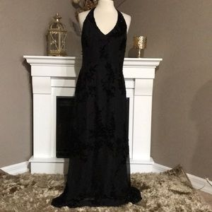 Adrianna Papell Black Silk Beaded Halter Gown